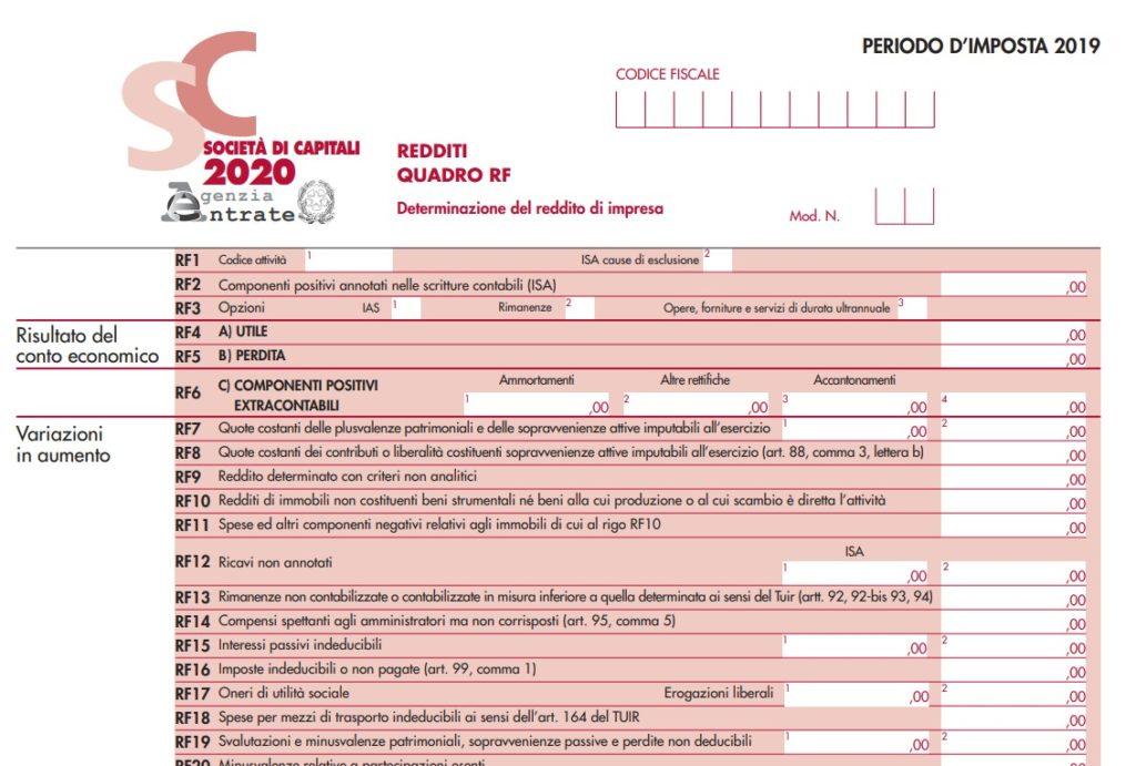 Dichiarazione dei redditi Società di capitali 2020